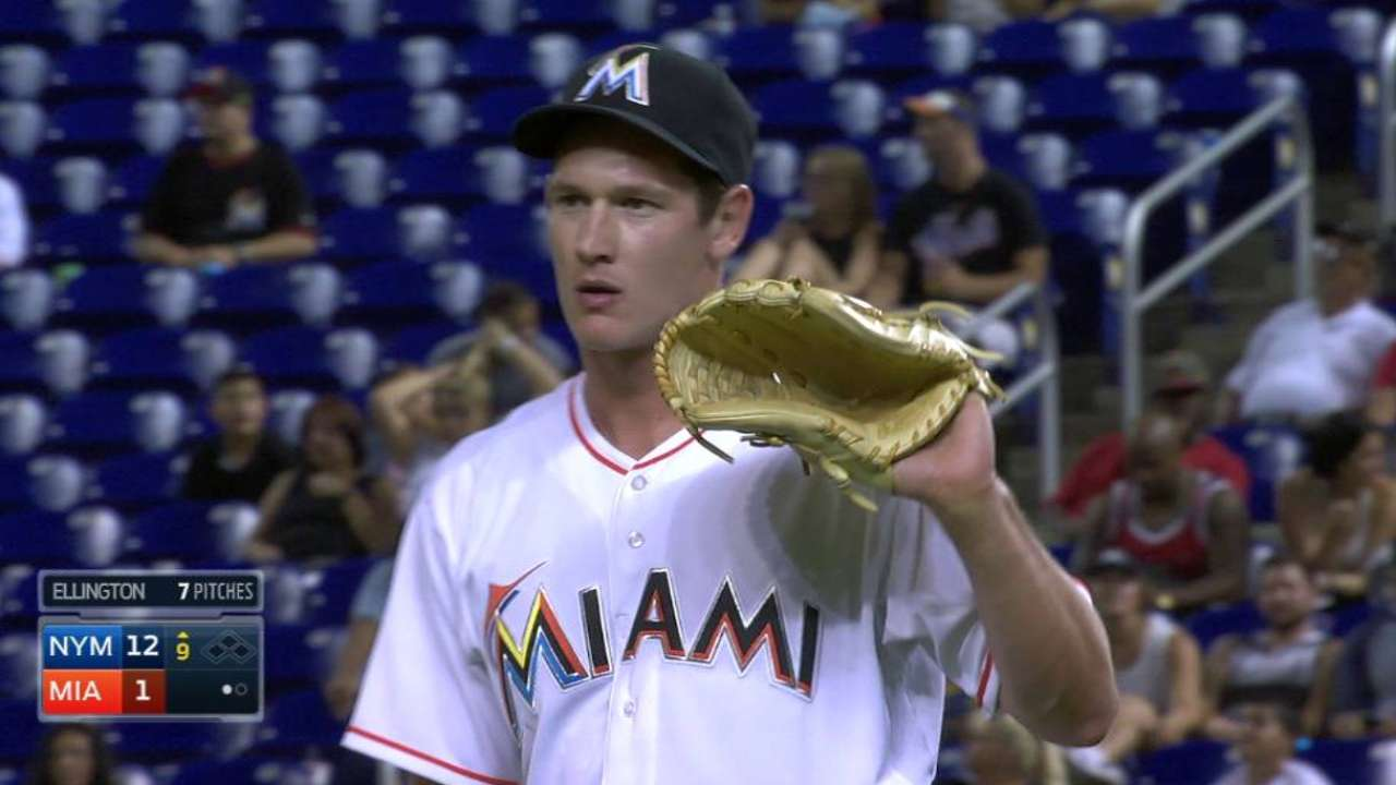 Ellington shows off fastball, intrigues Marlins
