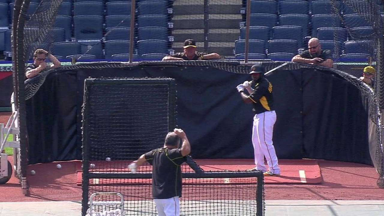 Harrison takes batting practice