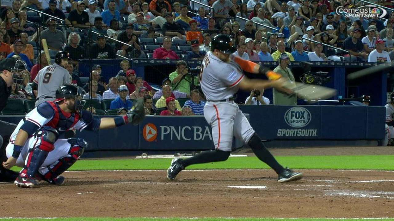 Giants rally past Braves behind Pence's homer
