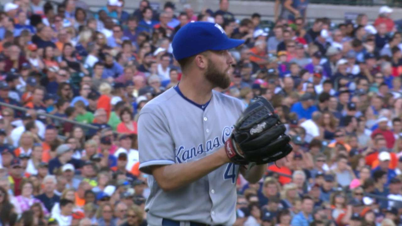 Duffy tips cap to Royals' defense in solid start
