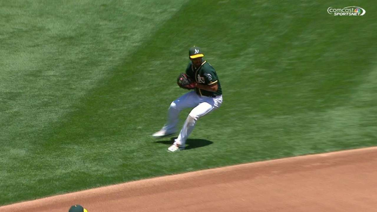 Semien's strong throw