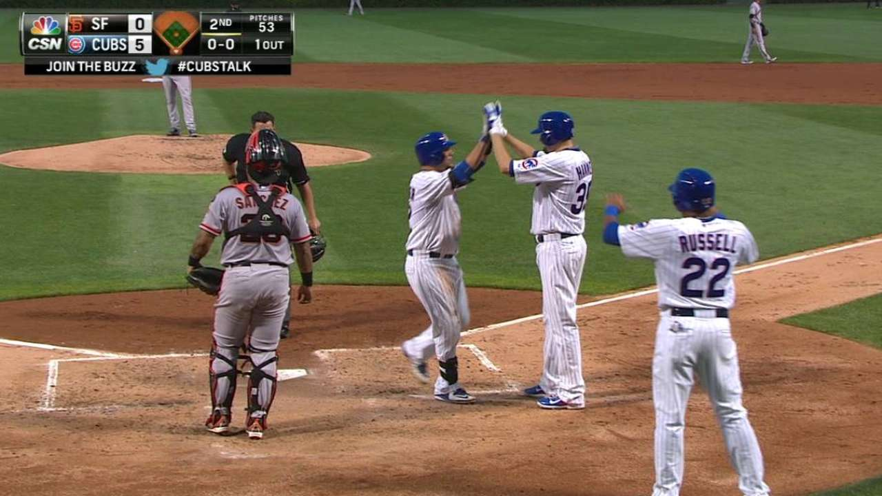 Schwarber's homer gives Cubs win vs. Giants