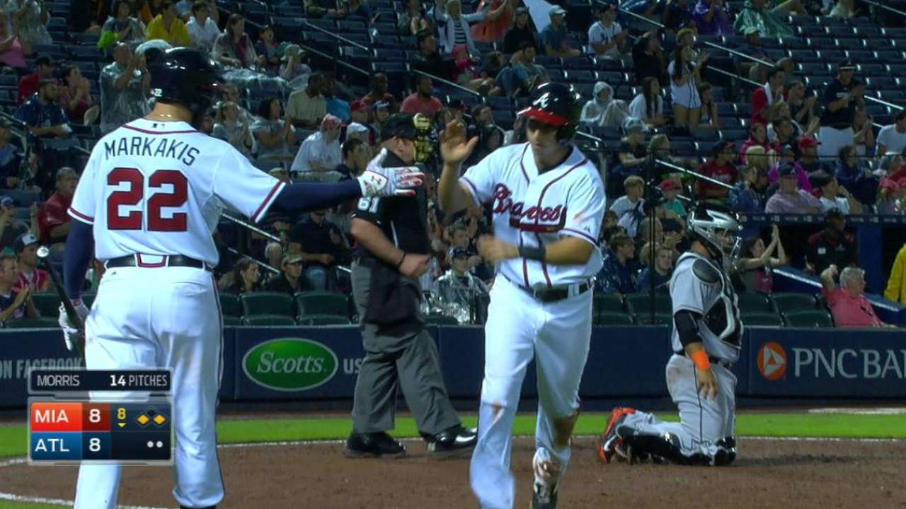 Perez, Braves deliver late after Marlins tie it twice
