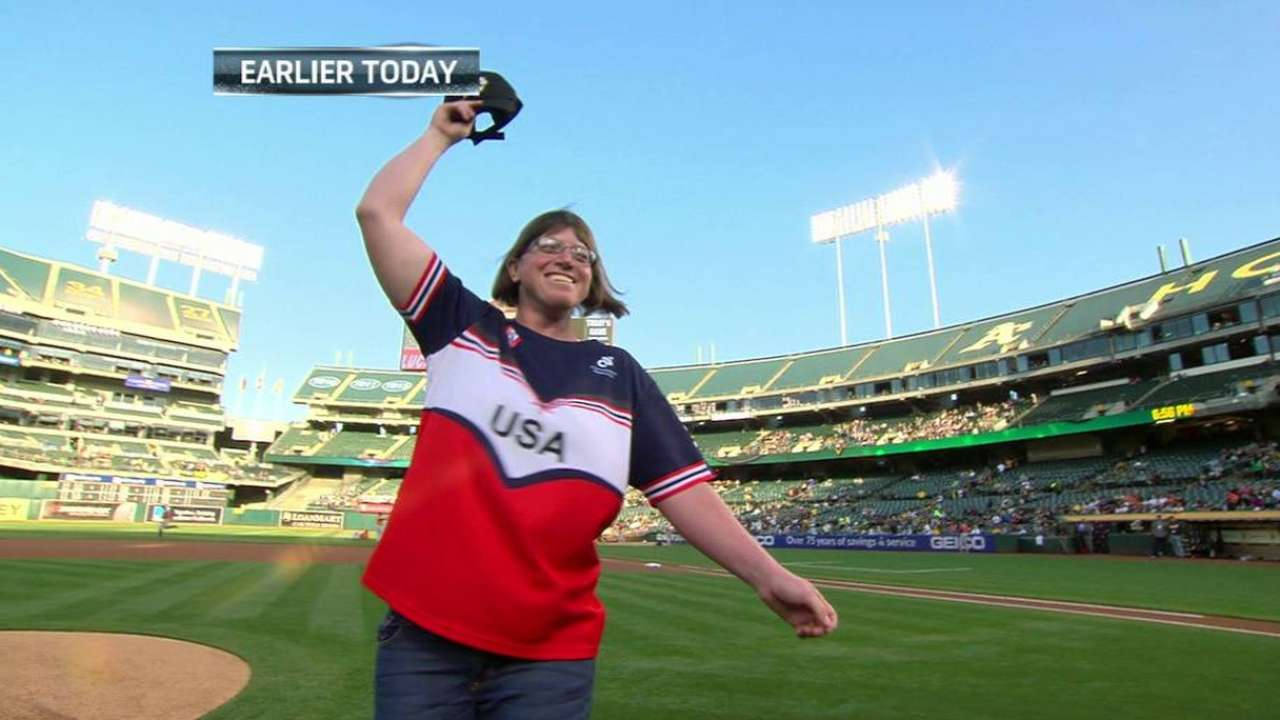 First pitch from Burns' sister continues tradition