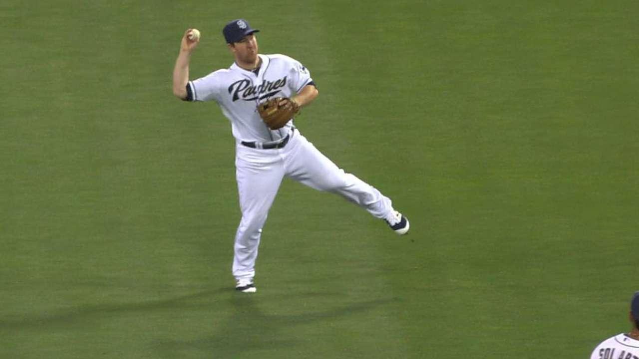 Gyorko's off-balance throw