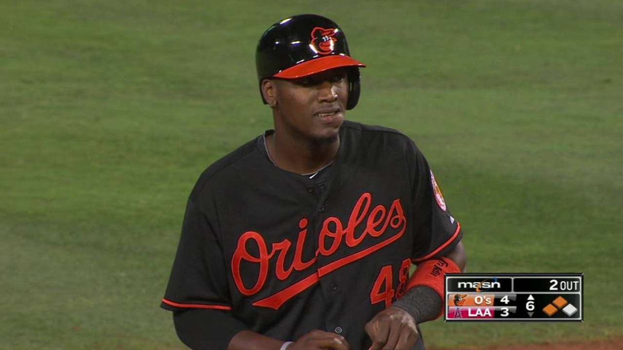 Lake doubles in Orioles debut