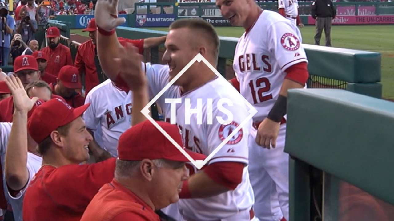 Trout renews tradition with 3rd birthday homer