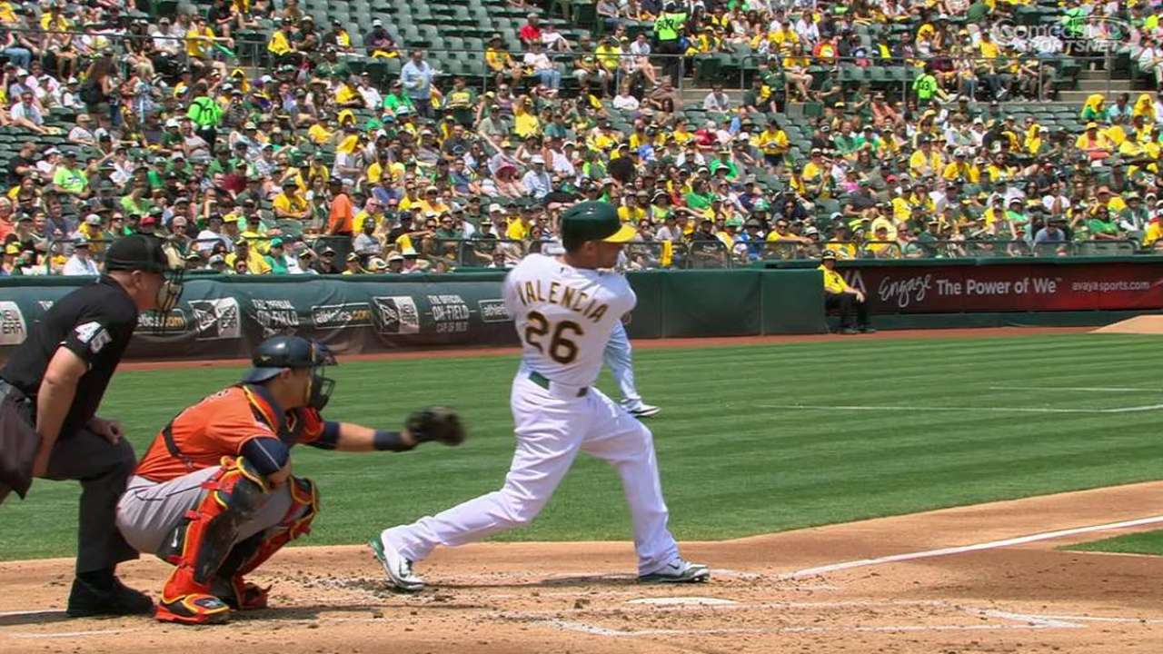Chavez, Valencia propel A's past Astros