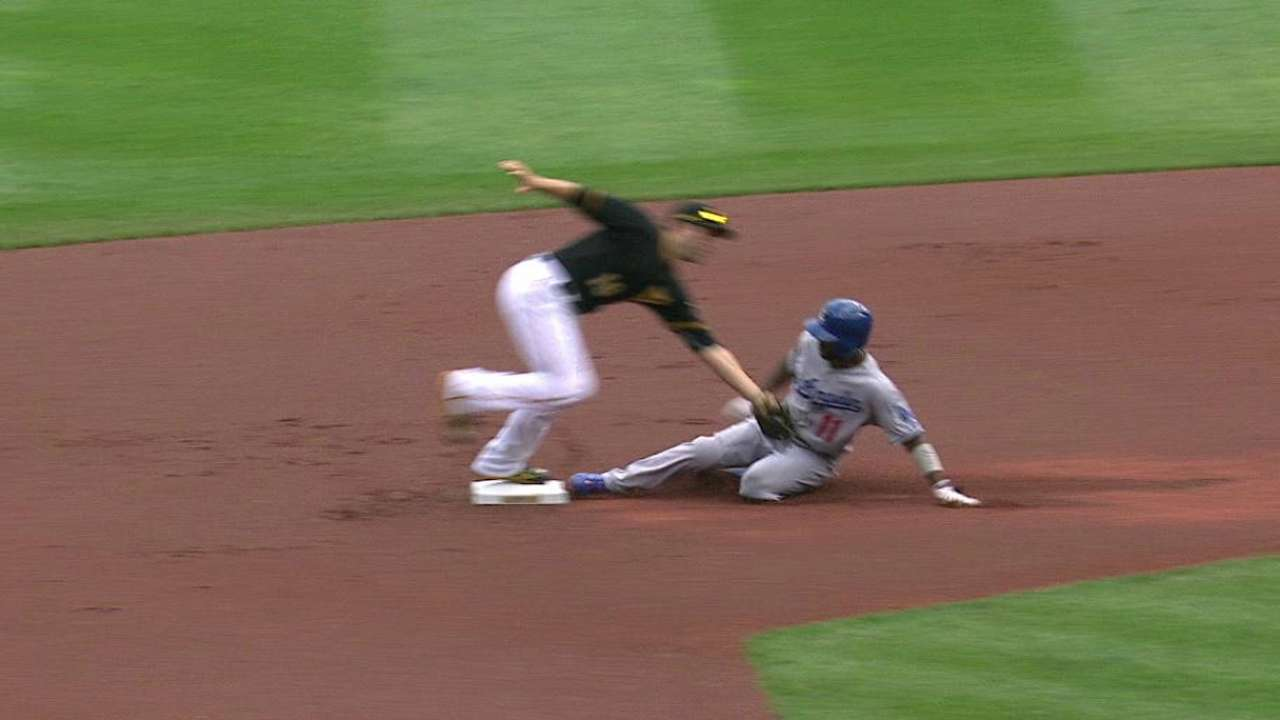 Liriano gets the out at second
