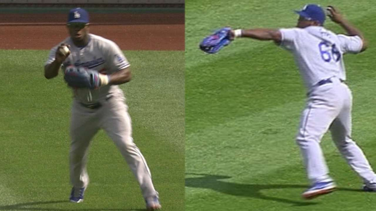 Puig's great throw robs Marte of base hit