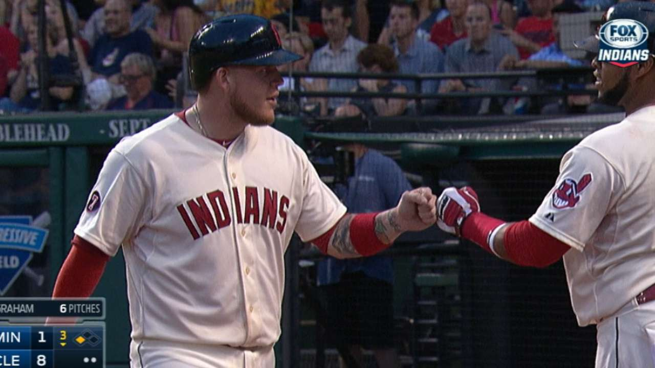 Tribe's offense on fire in rout of Twins
