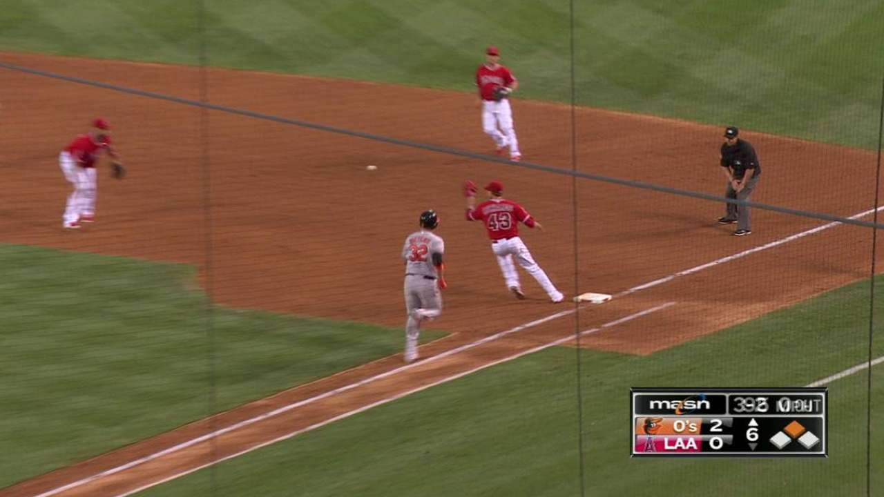 Wieters catches Angels napping