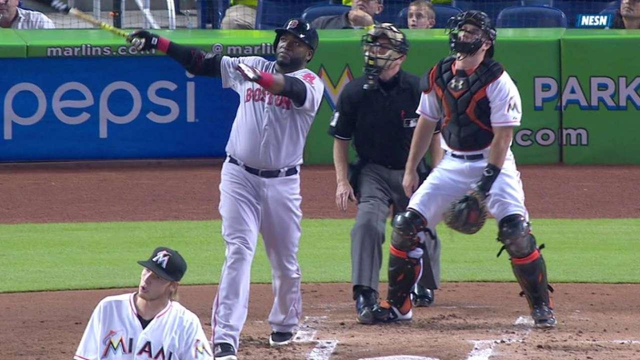 Ortiz pegó 2 HR, pero Boston fue apabullado en Miami