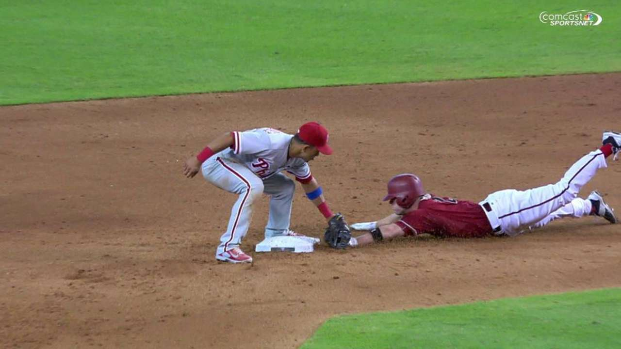 Hill out at second after review