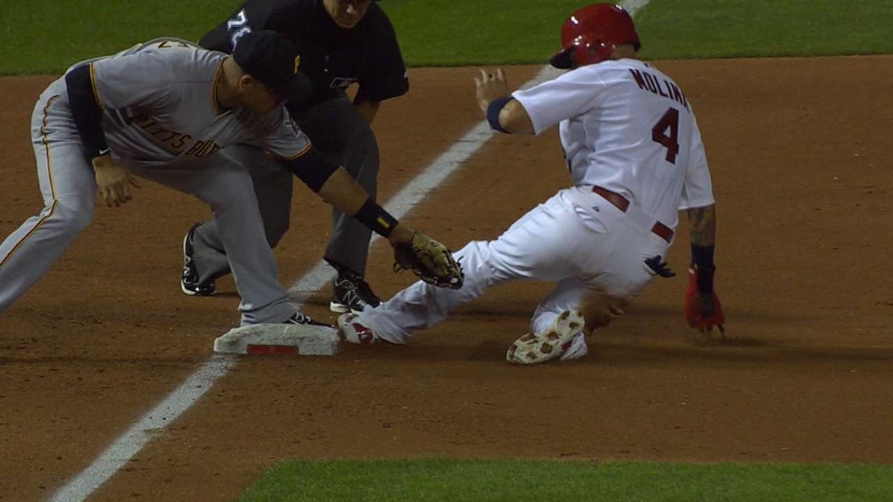 Molina's triple and stolen base