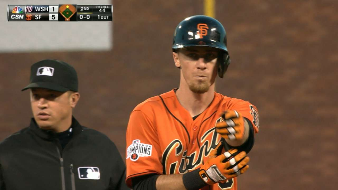 Giants hit four doubles in 2nd