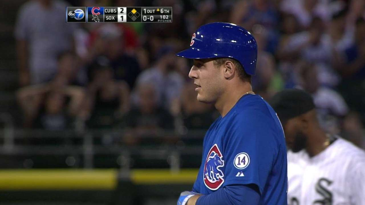 Rizzo's fly ball lost in lights