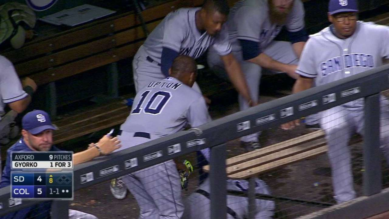 Upton frustrated, loses helmet