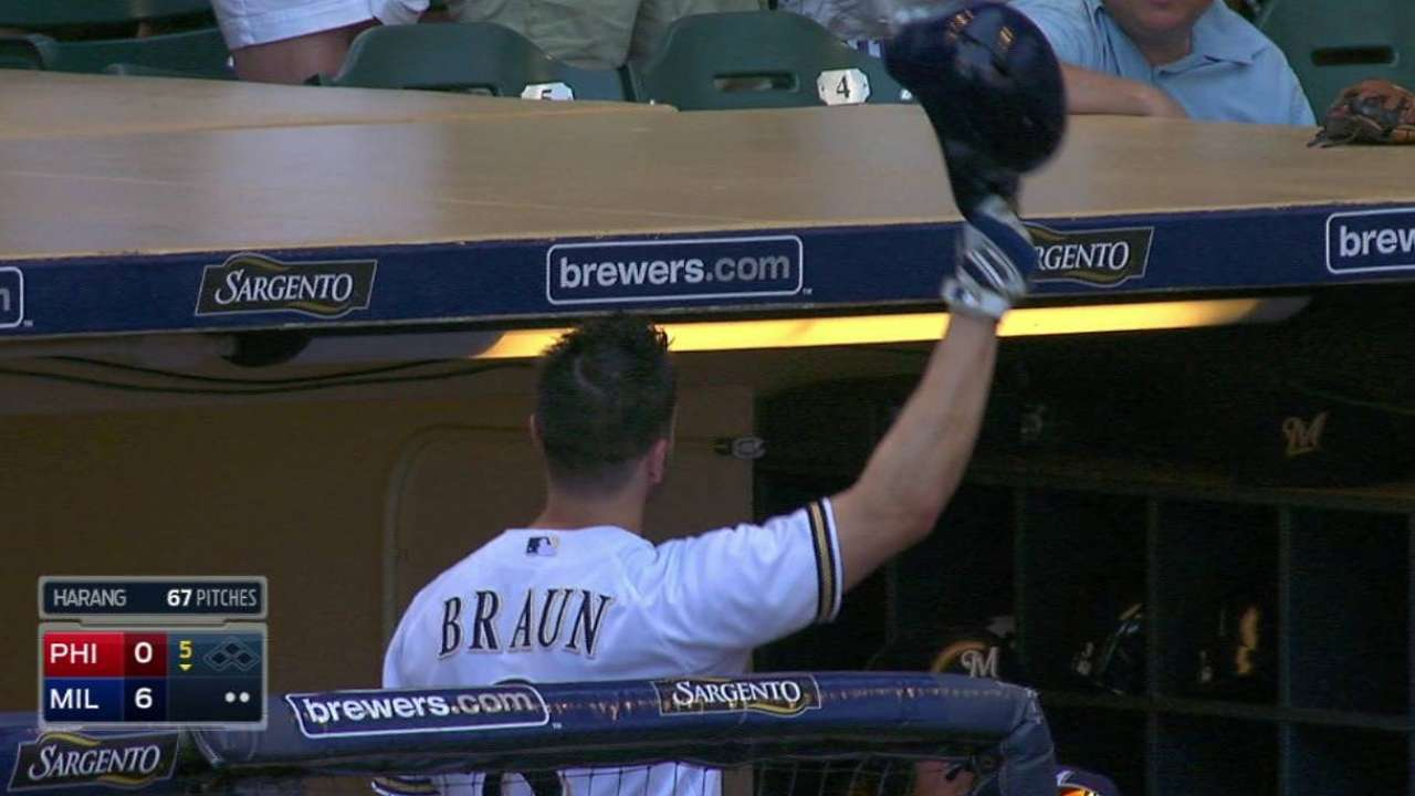 Braun's slam supports Jungmann to top Phils