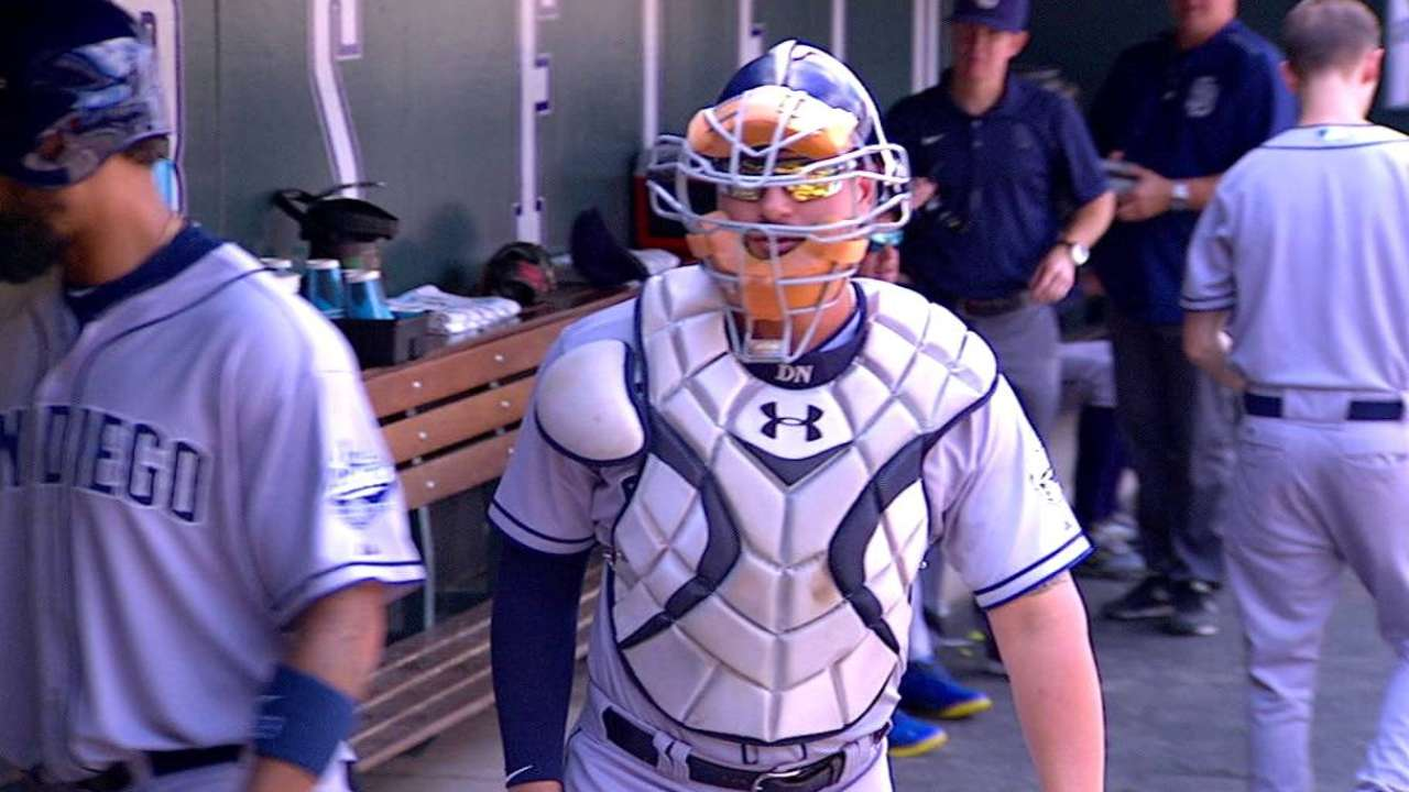 Alonso wears catcher's equipment