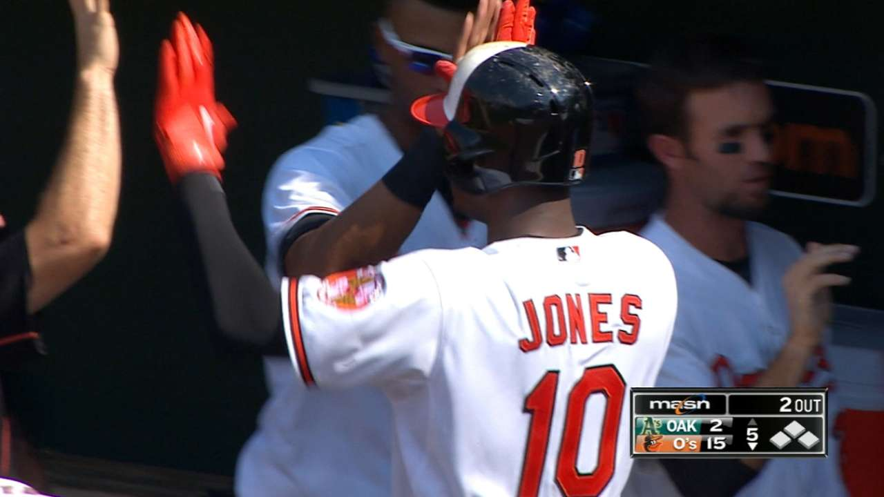 O's break out with 9-run 5th inning