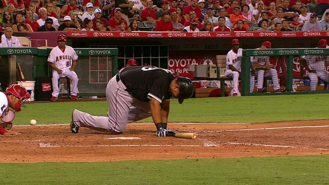 Abreu gets hit by pitch