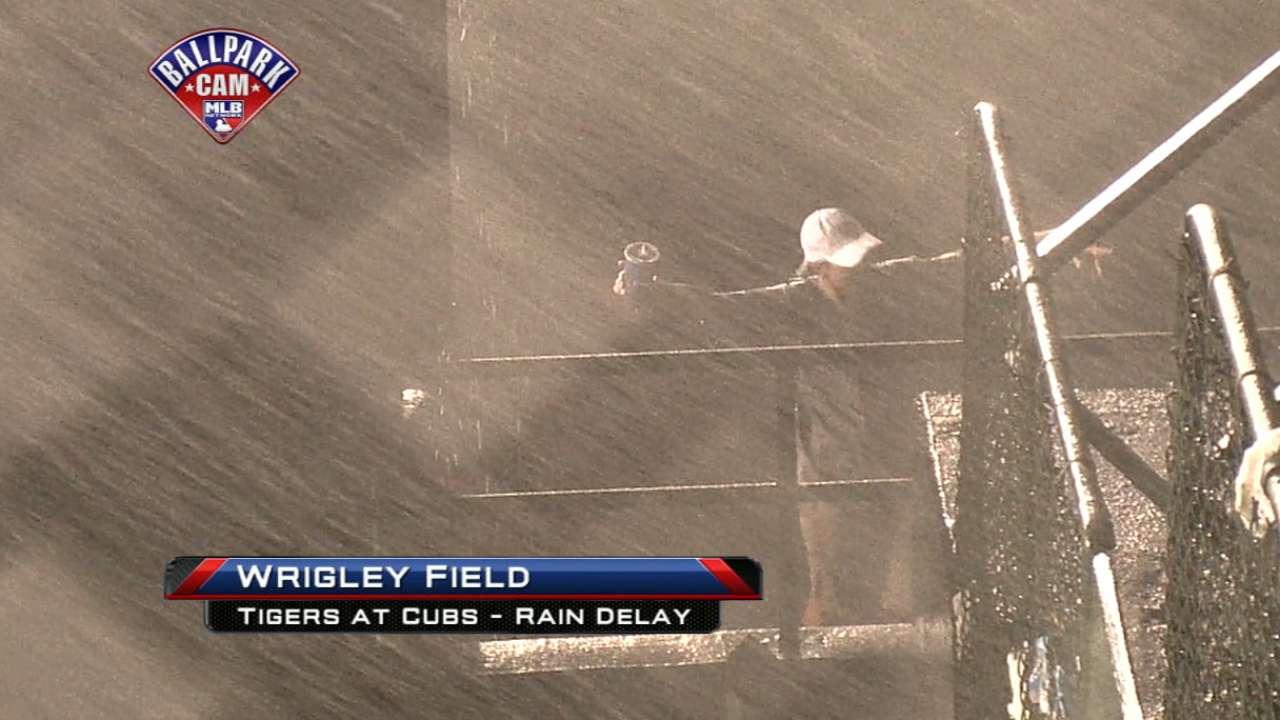 Rain comes down at Wrigley