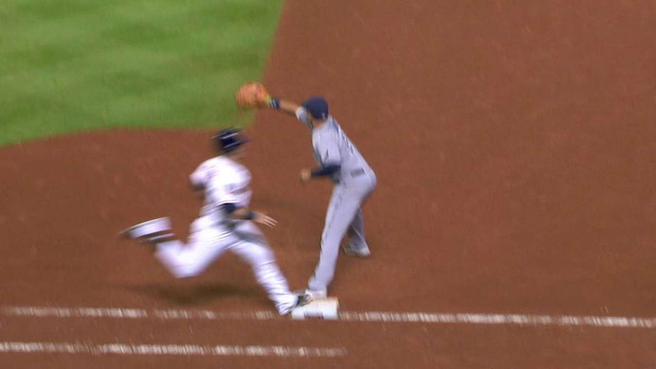 Tucker ruled safe at first