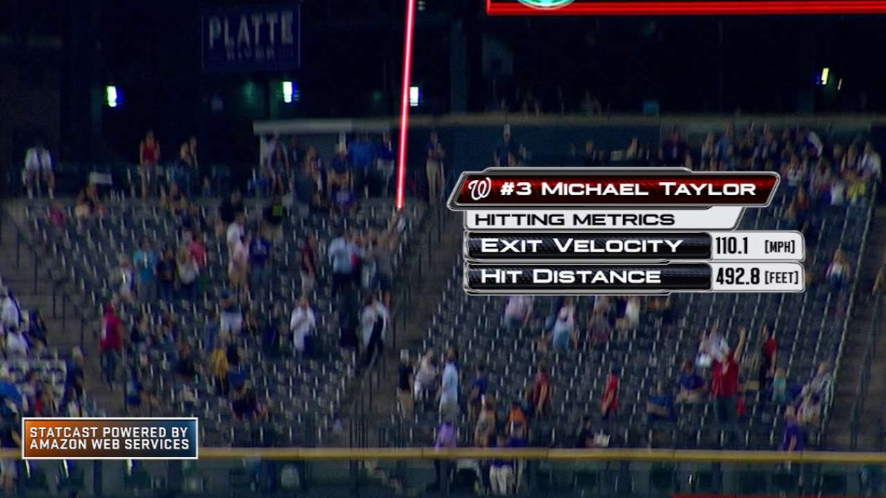 Taylor breaks Statcast record with 493-ft. HR