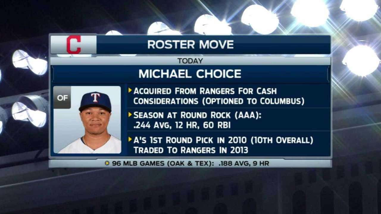 Indians acquire Choice from Rangers for cash