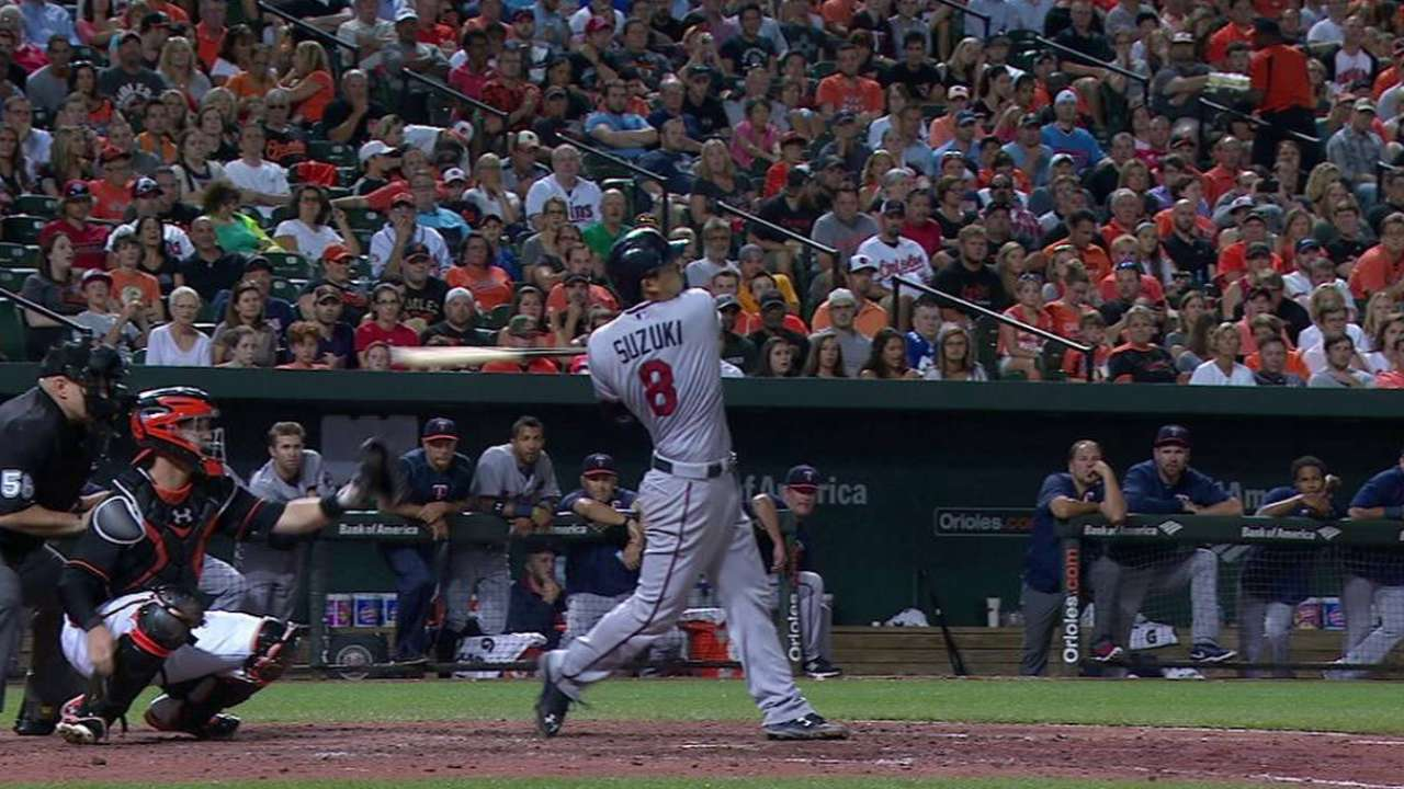 Twins rally past Orioles on Suzuki's bloop