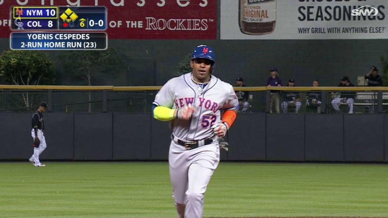 Cespedes' 3 HRs help Mets outslug Rockies