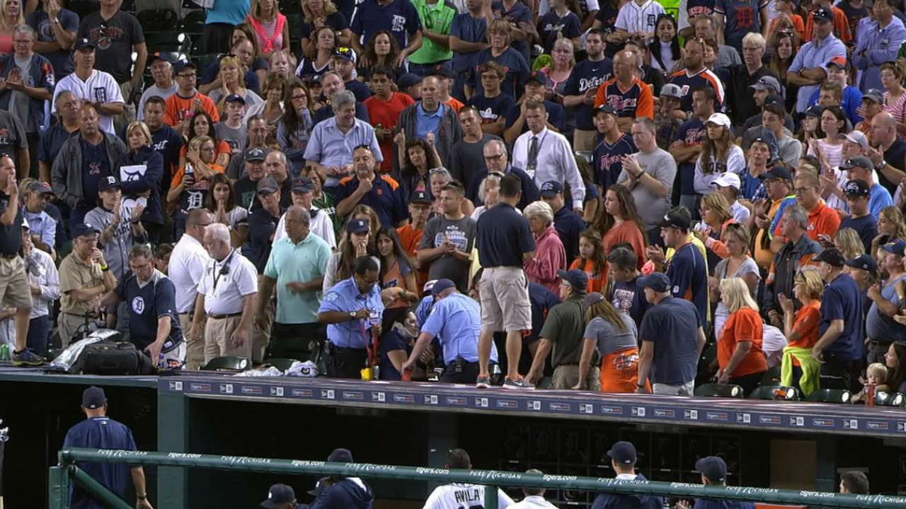 Fan struck by foul ball evaluated at hospital