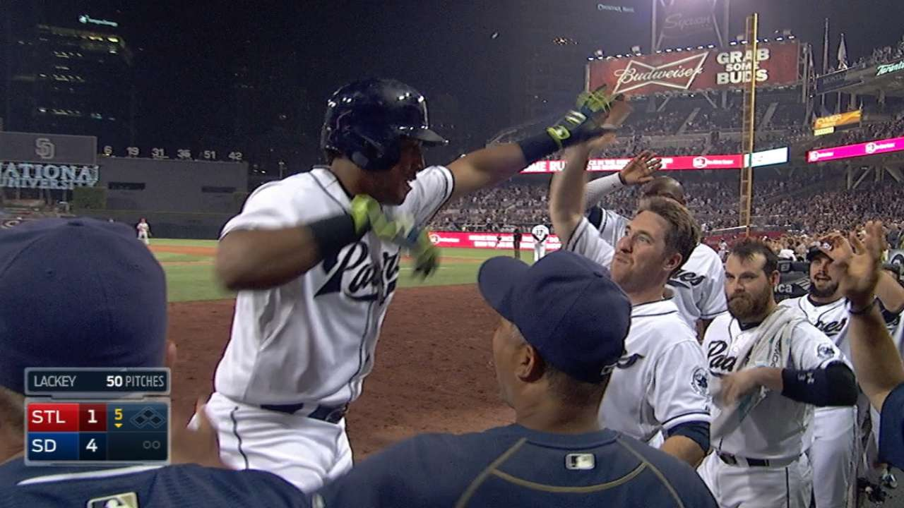 Padres' five-run 5th