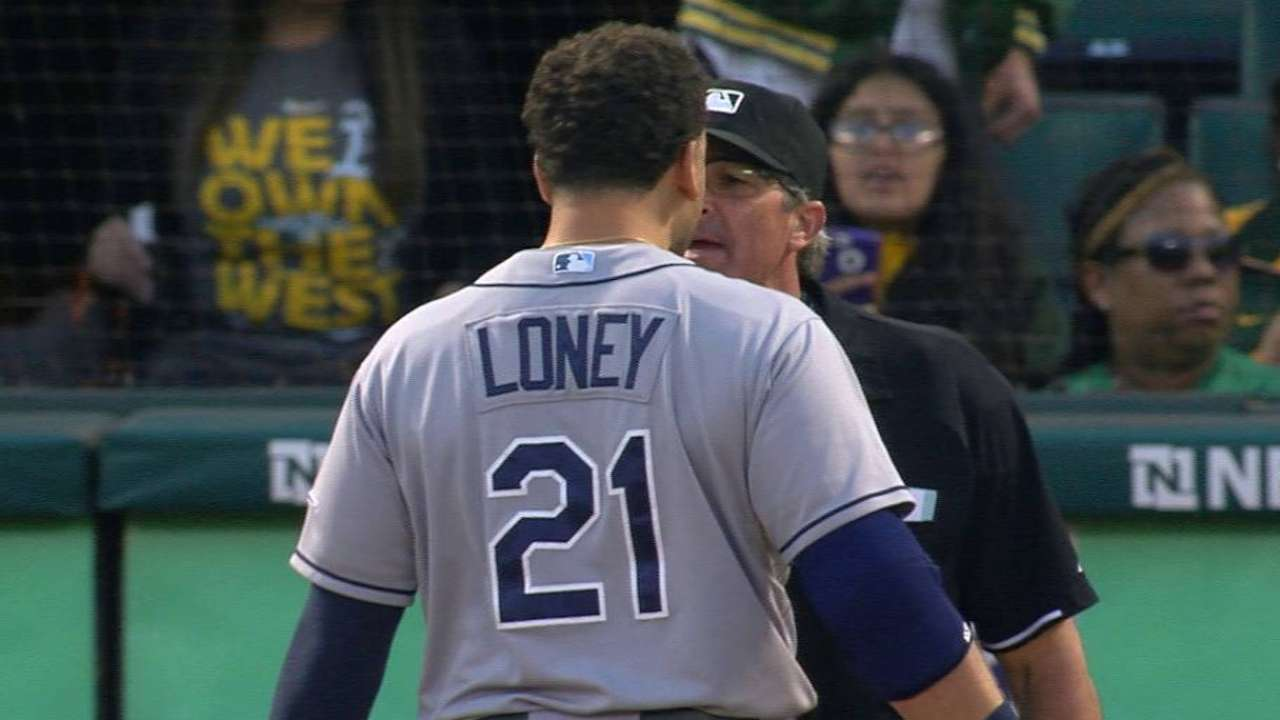 Loney tossed after arguing strike, bumps ump