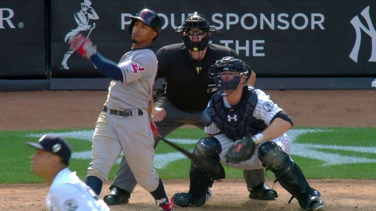 Tribe HRs open, close tight victory over Yankees