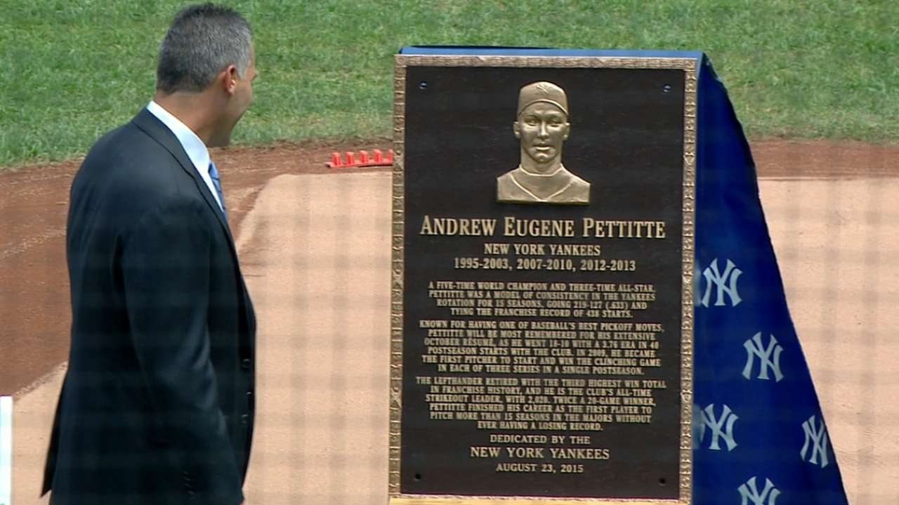 Yankees legend honored on Andy Pettitte Day