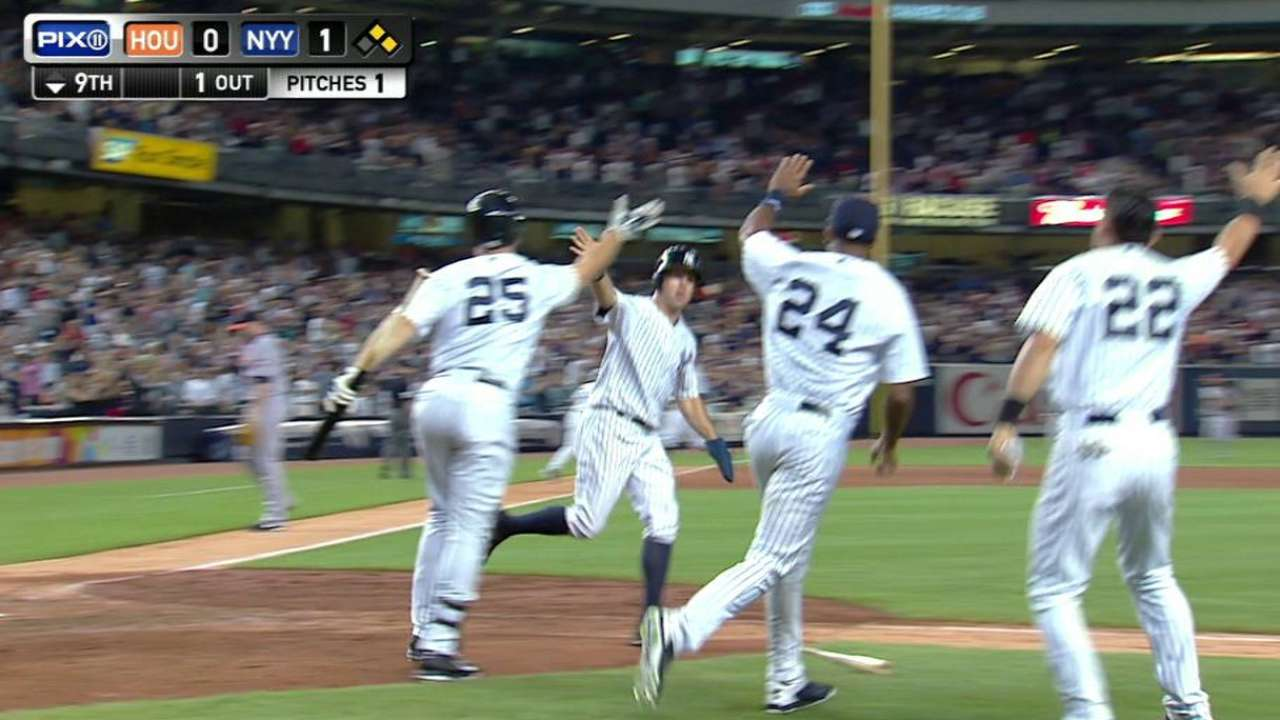 Yanks walk off past Astros for division-lead tie