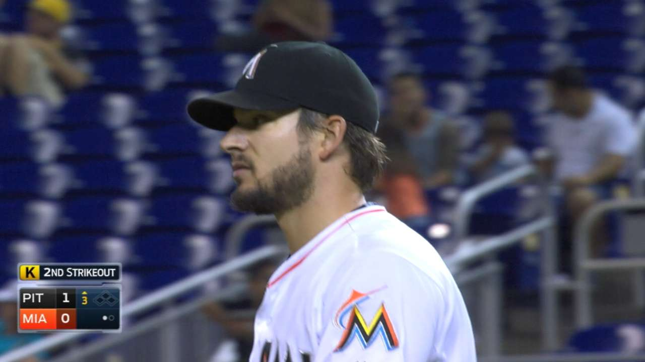 Marlins help Hand, who holds Pirates in check