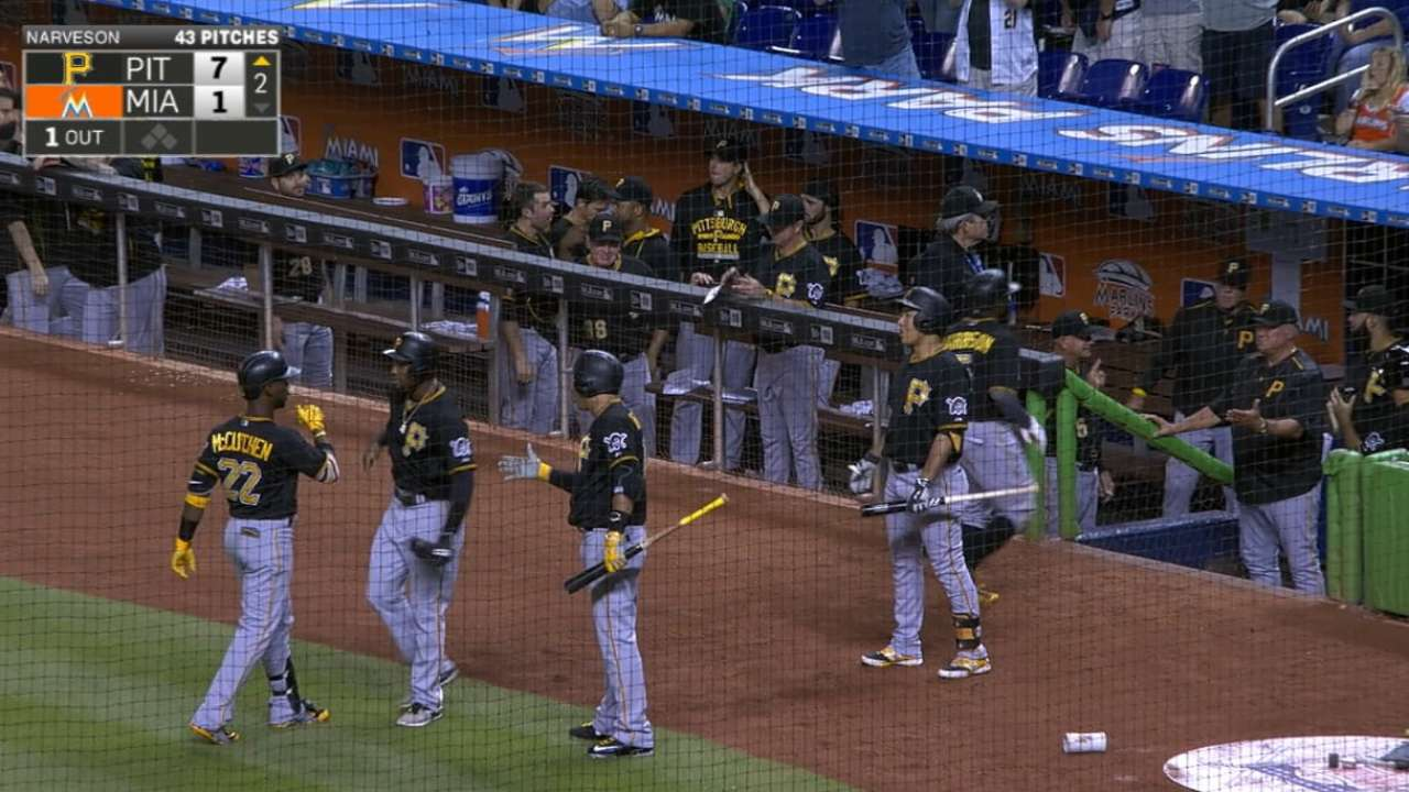 Pirates ride six-run 2nd to get by Marlins