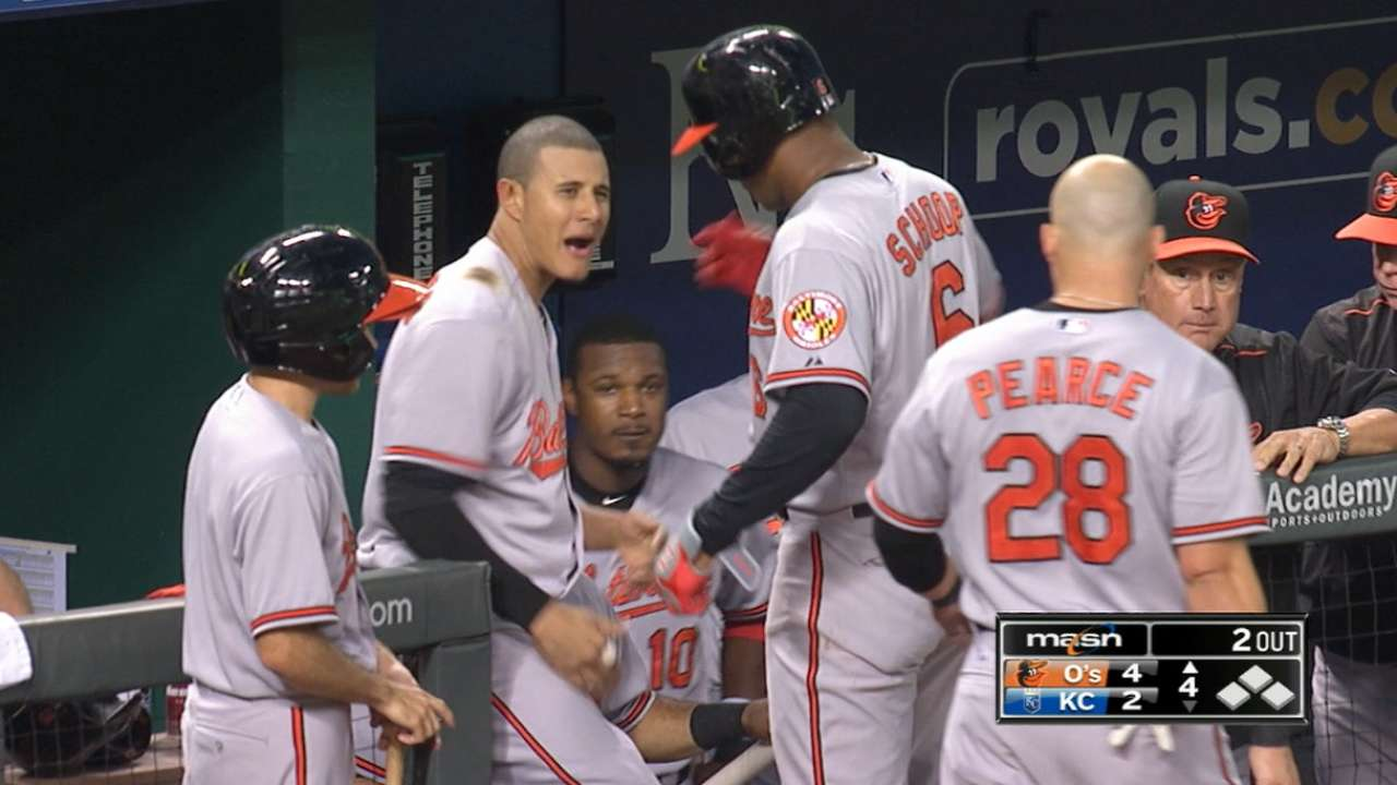 Orioles belt five homers to power past Royals