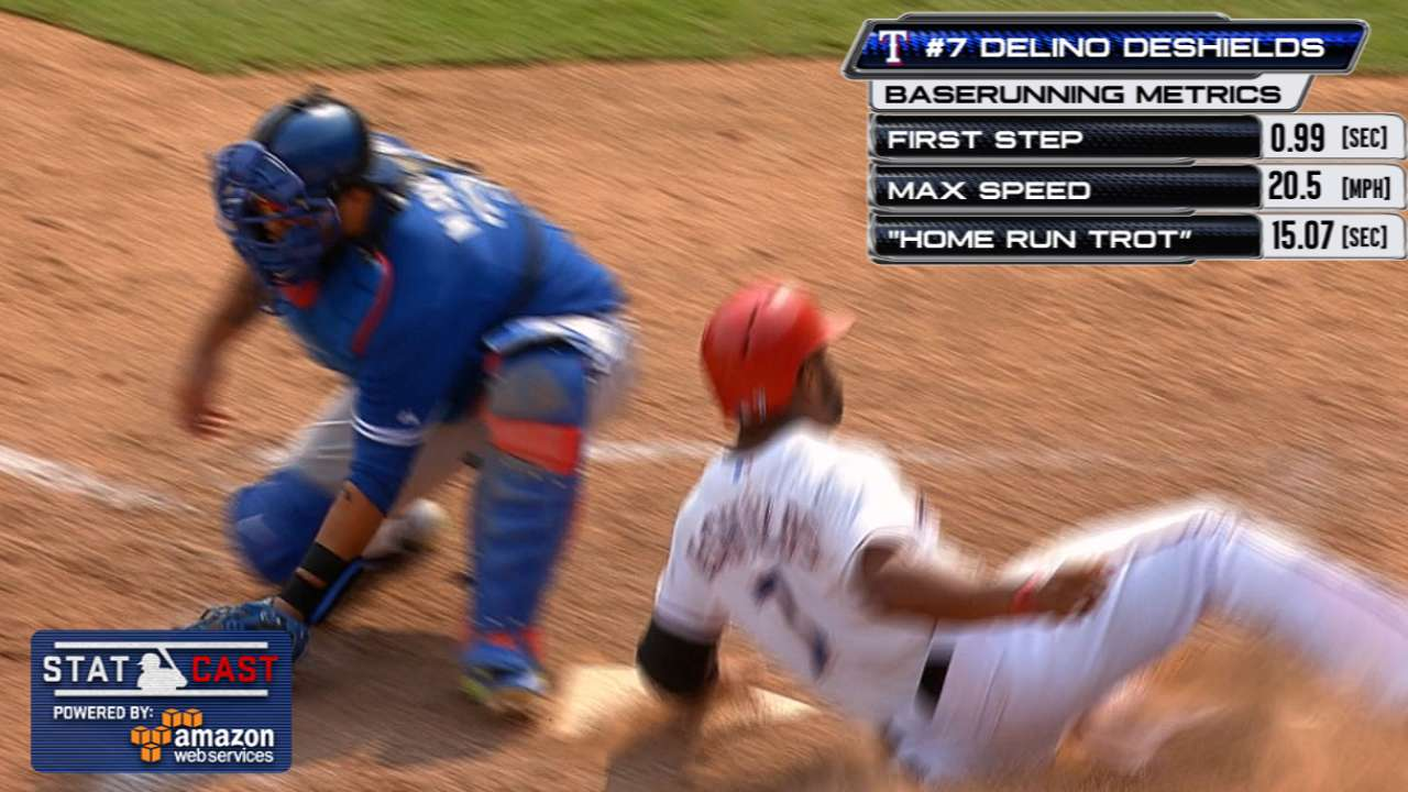 DeShields turns Bautista's error into 'homer'