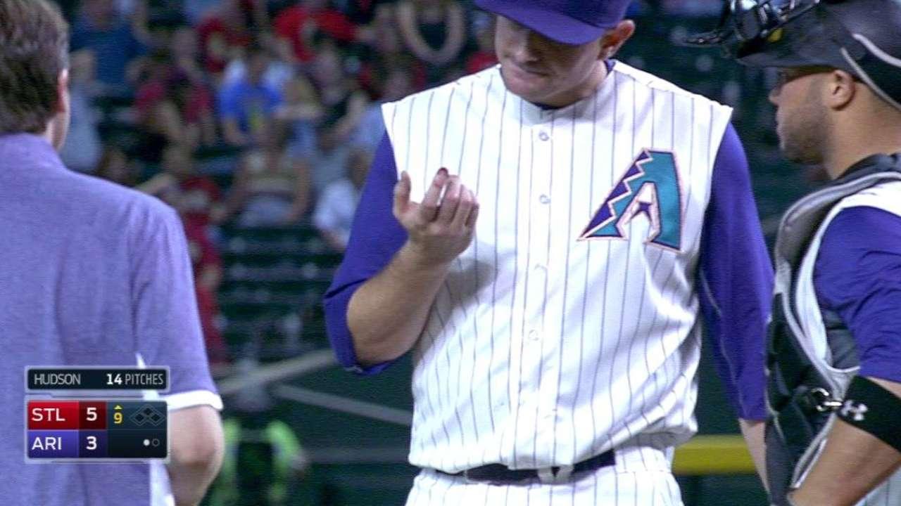 Hudson cuts finger fielding comebacker