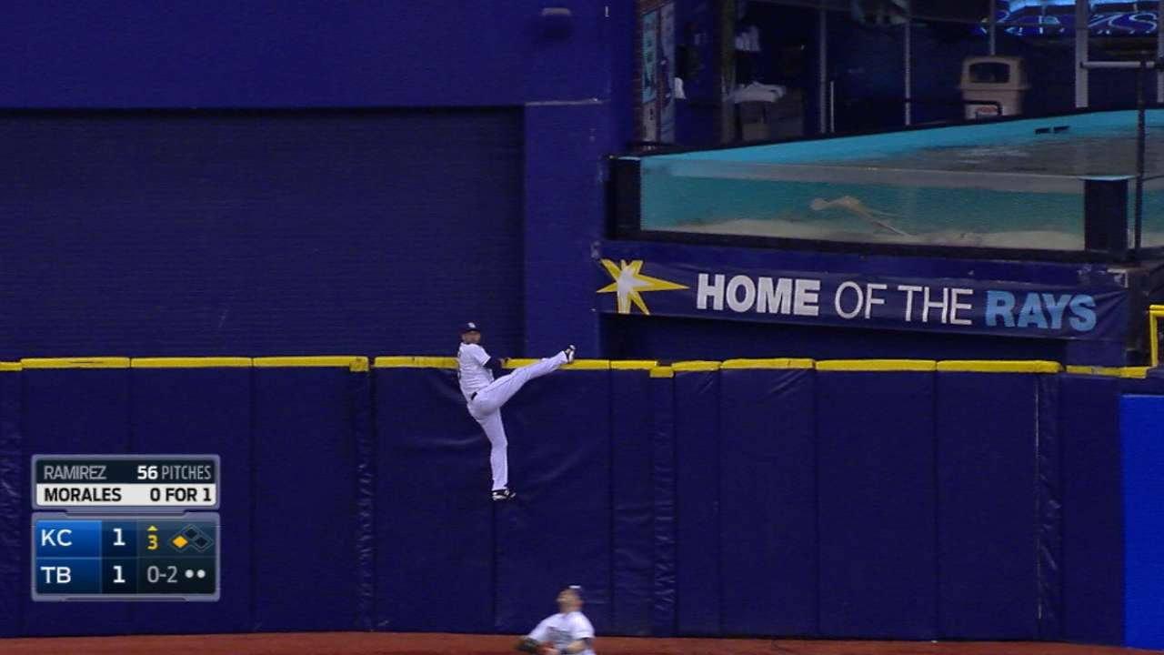 Kiermaier literally left hanging on catwalk HR