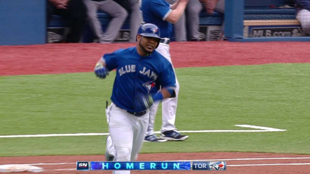 Encarnacion homers three times, extends hit streak to 24