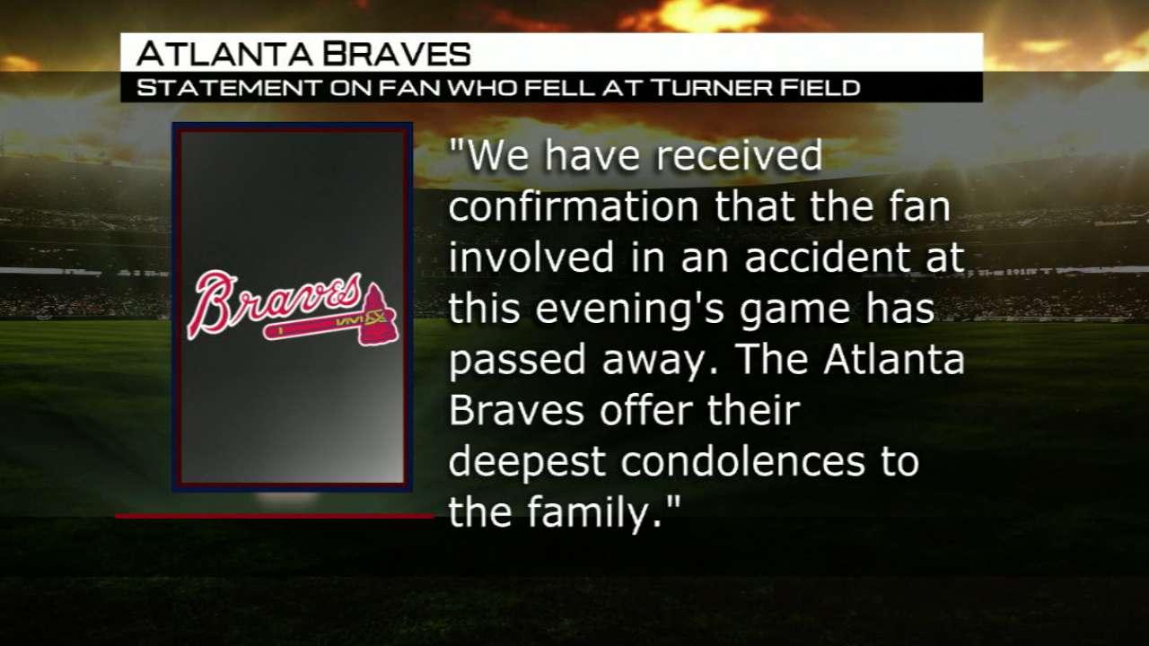 Fan dies in fall from upper deck in Atlanta