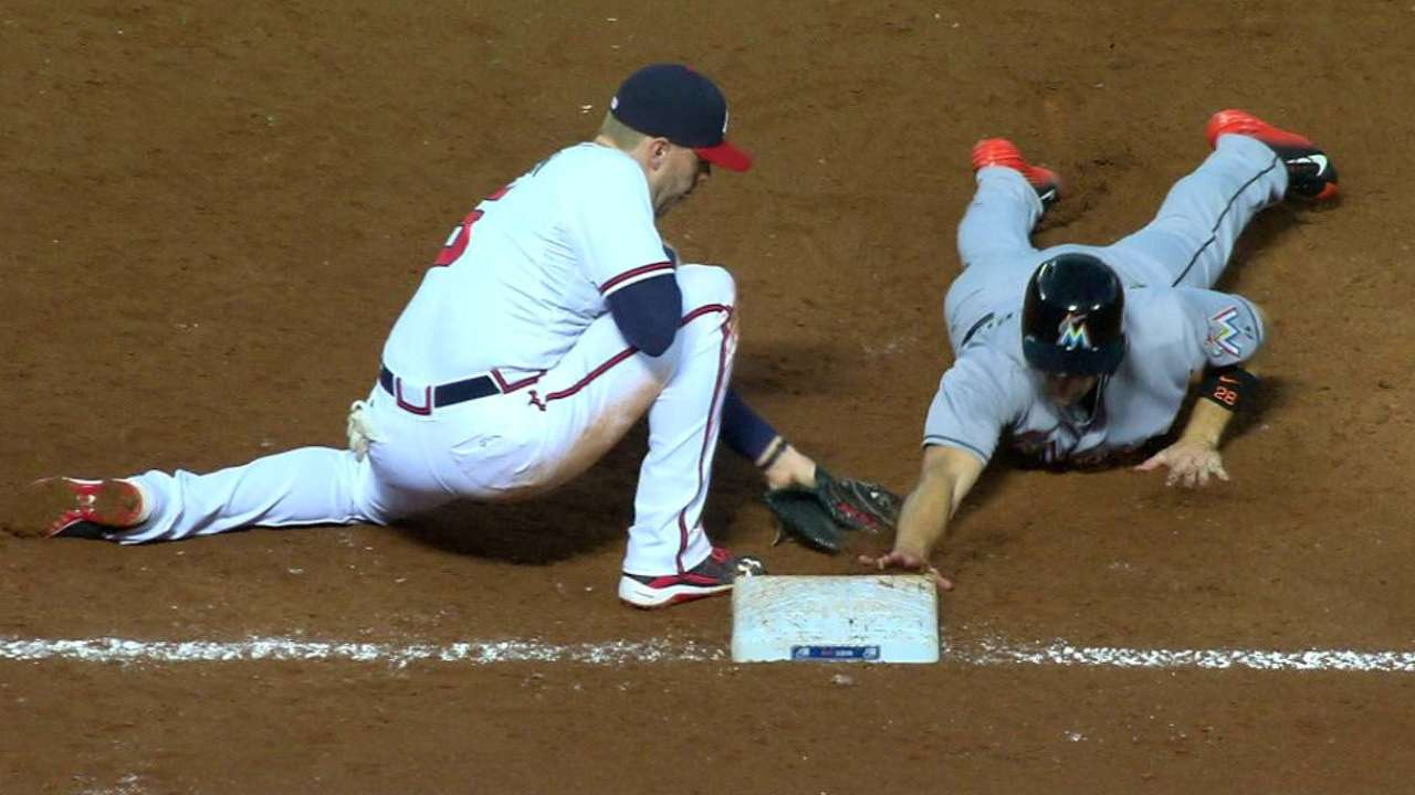 Braves challenge call at first