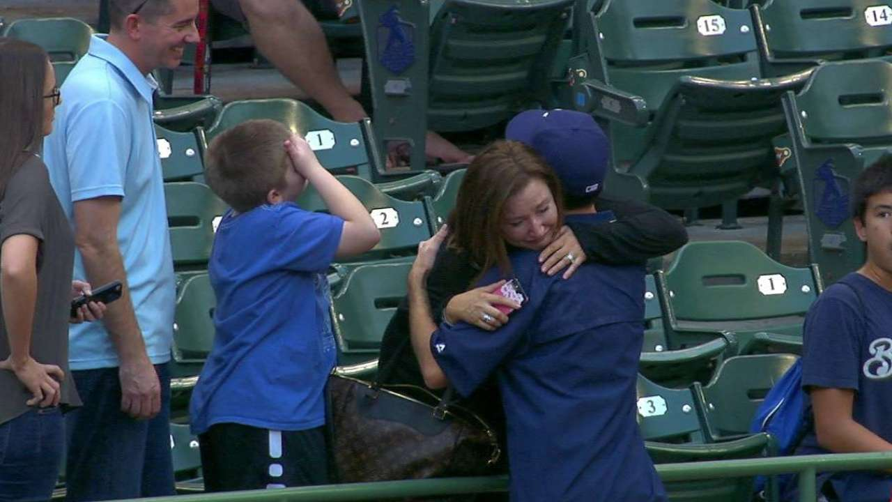 Davies greets parents during BP