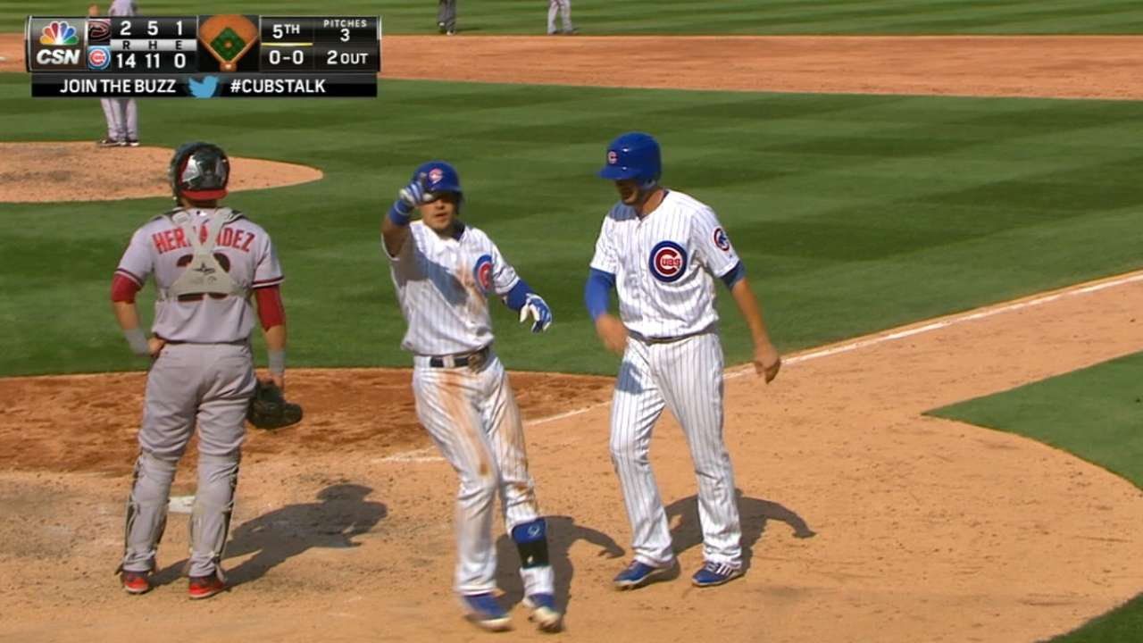 Cubs chip in up and down lineup in wild fifth