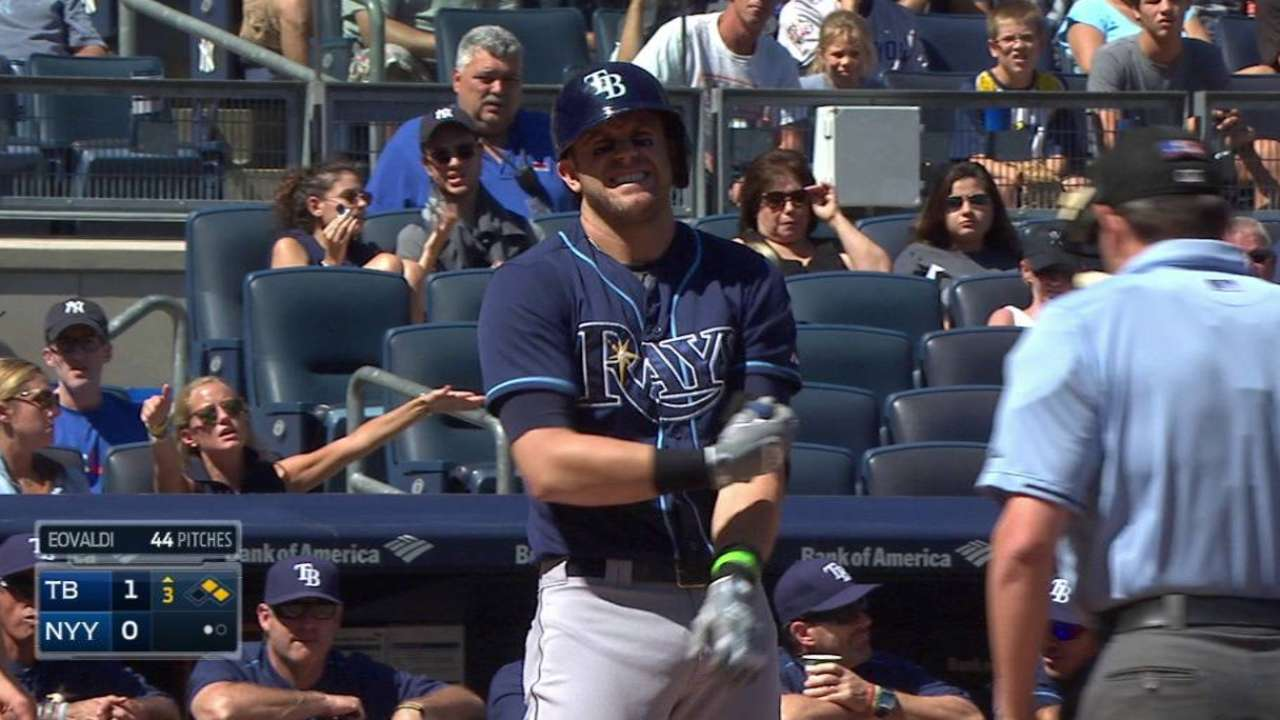 Longo gets hit by a pitch